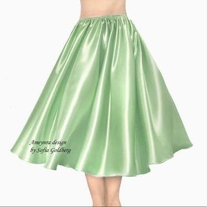 Sage Green Satin Skirt Mid-Calf New All Sizes